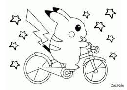 Бесплатная раскраска Пикачу на велосипеде - Велосипеды