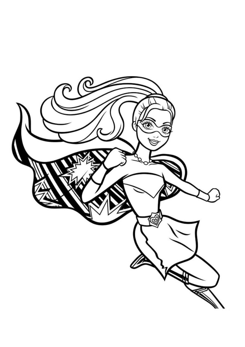 Раскраска Пикирующая супербарби распечатать | Барби