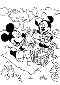 Пикник на опушке раскраска распечатать на А4 - Микки Маус
