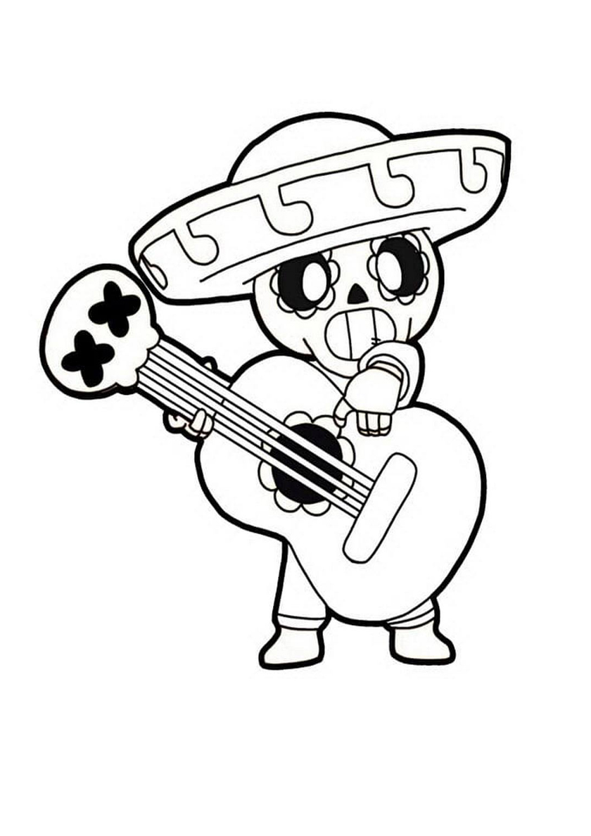 Раскраска Пико играет на гитаре распечатать | Браво Старс