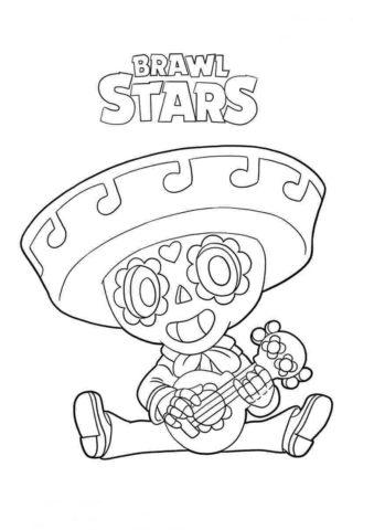 Браво Старс распечатать раскраску - Пико с гитарой