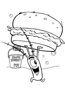 Планктон украл крабсбургер (Губка Боб) бесплатная раскраска