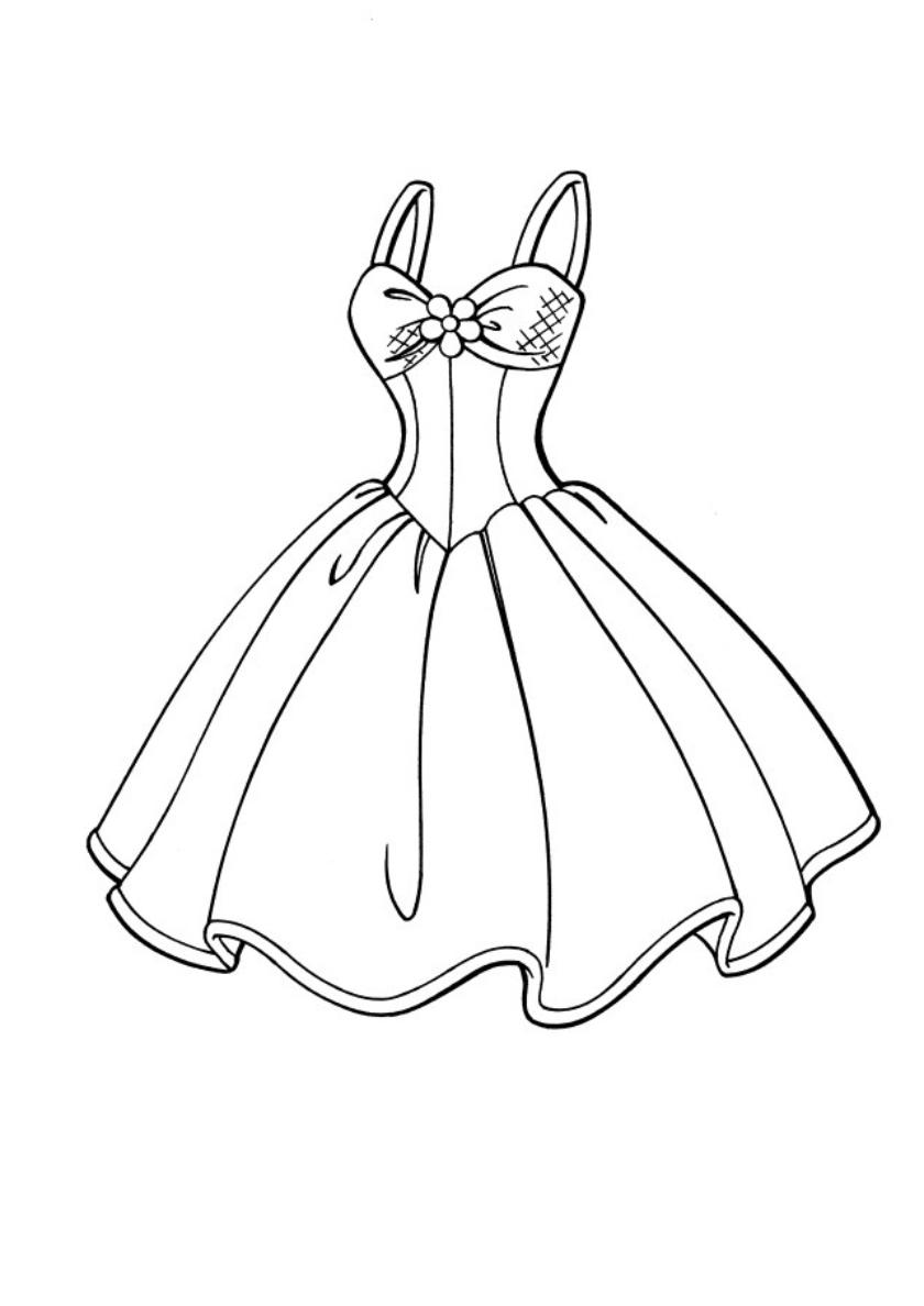 Раскраска Платье для барби распечатать | Барби