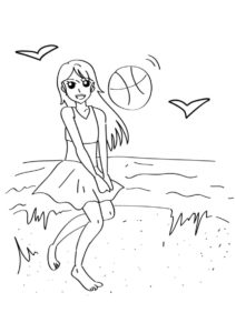 Разукрашка Пляжный волейбол распечатать на А4 и скачать - Лето