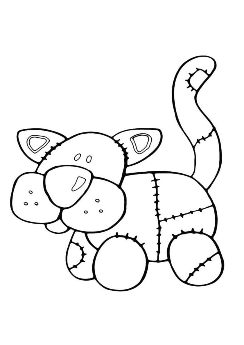 Раскраска Плюшевый кот распечатать   Коты, кошки, котята