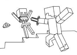 Майнкрафт распечатать раскраску на А4 - Победа над скелетом