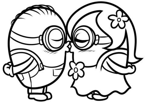 Поцелуй миньонов (Миньоны) бесплатная раскраска