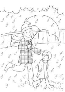 Под дождиком (Весна) распечатать разукрашку