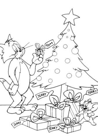 Подарки на Рождество (Том и Джерри) разукрашка для печати на А4