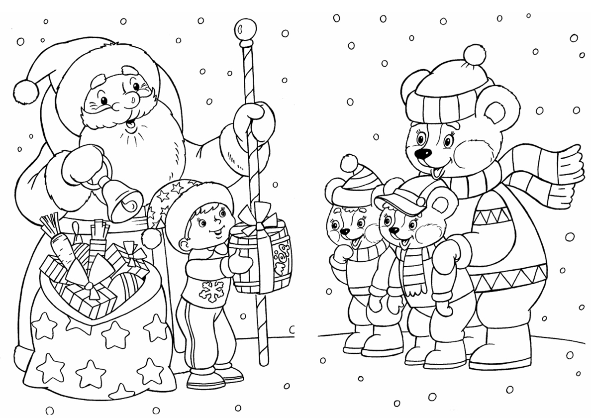 Дед мороз и снеговик картинки раскраски