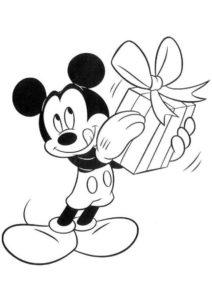 Раскраска Подарок для Микки Мауса распечатать и скачать - Микки Маус