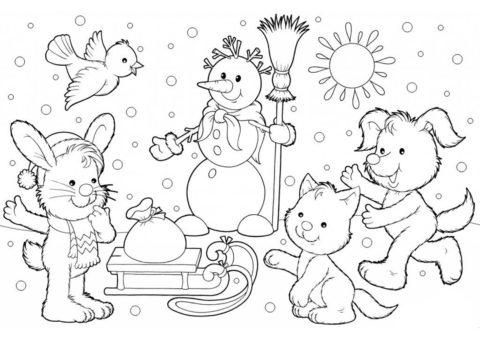 Зима распечатать раскраску - Подарок для зверят