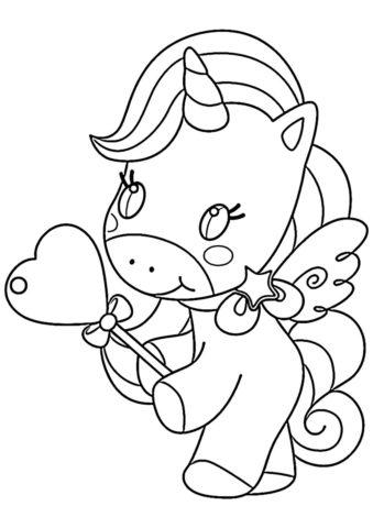 Подарок от сердца (Единороги) раскраска для печати и загрузки