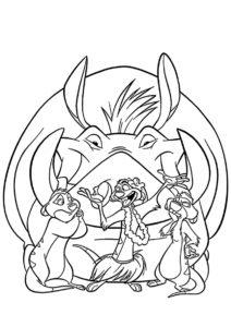 Король Лев распечатать раскраску - Подкравшийся Пумба