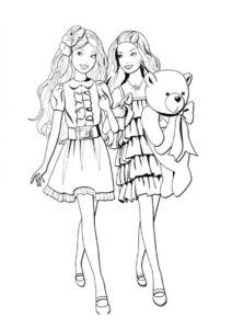 Подружки на прогулке (Барби) бесплатная раскраска на печать