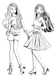 Раскраска Подружки на роликах распечатать и скачать - Барби