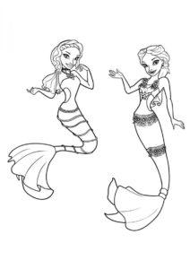 Раскраска Подружки русалки распечатать и скачать - Барби