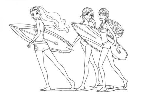 Раскраска Подружки-сёрфингистки распечатать | Барби