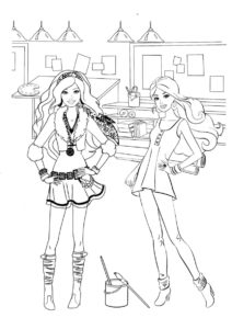 Подружки в арт-мастерской разукрашка скачать и распечатать - Барби