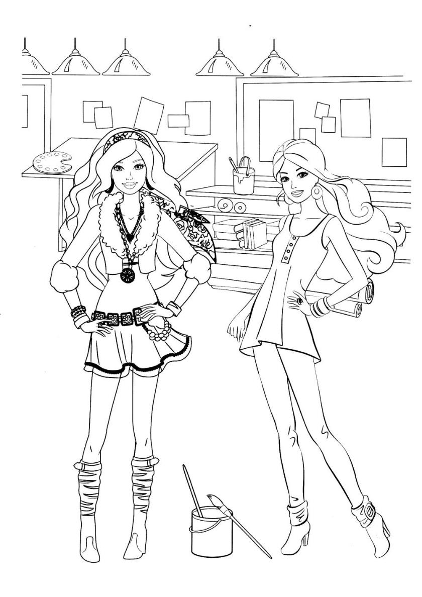 Раскраска Подружки в арт-мастерской распечатать | Барби