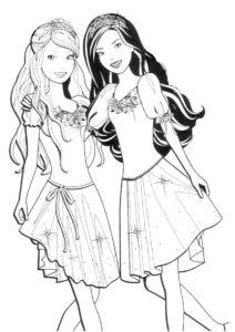 Распечатать раскраску Подружки в коронах - Барби