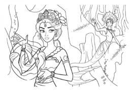Раскраска Подводная колдунья - Барби