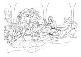 Раскраска Подводные приготовления распечатать на А4 и скачать - Барби