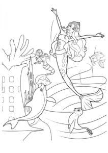 Подводные танцы (Барби) бесплатная раскраска на печать