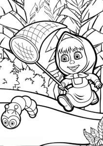 Маша и Медведь распечатать раскраску - Погоня за гусеницей