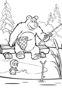 Маша и Медведь бесплатная раскраска - Поклевка