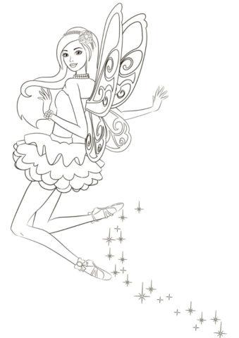 Полет феи - Барби бесплатная раскраска