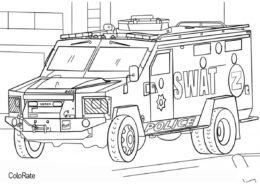 Разукрашка Полицейская грузовая машина распечатать на А4 и скачать - Грузовики
