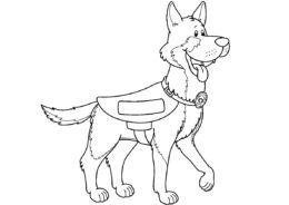 Полицейская овчарка на задании распечатать разукрашку бесплатно - Собаки и щенки