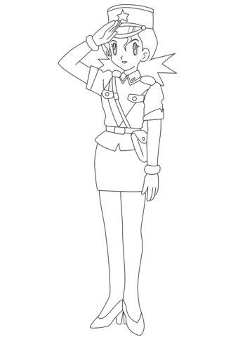 Полицейский Дженни раскраска распечатать бесплатно на А4 - Покемоны