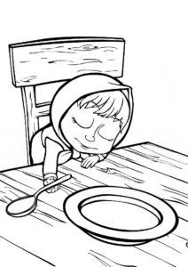 Маша и Медведь распечатать раскраску - Полное утомление