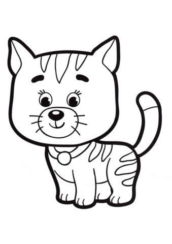 Полосатый котенок (Коты, кошки, котята) распечатать разукрашку