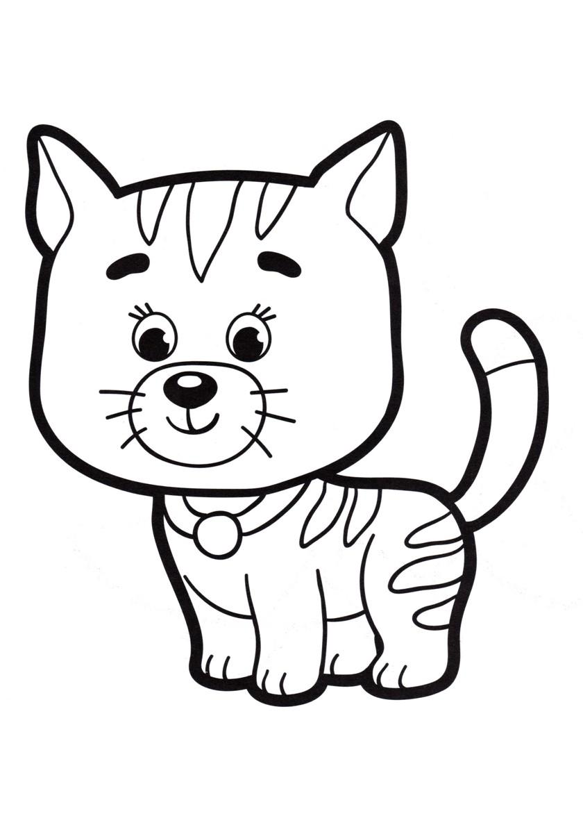 Раскраска Полосатый котенок распечатать | Коты, кошки, котята