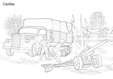Разукрашка Полугусеничная машина Маультир и тяжёлая пехотная гаубица распечатать на А4 и скачать - Военные