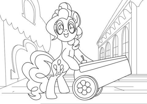 Бесплатная раскраска Пони готовит пушку - Пинки Пай