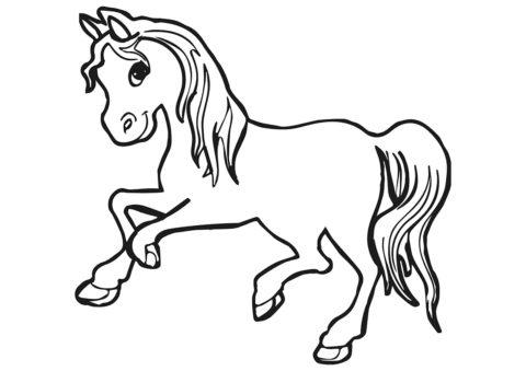Лошади и пони бесплатная разукрашка - Пони-весельчак