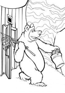 Пора на рыбалку распечатать разукрашку бесплатно - Маша и Медведь