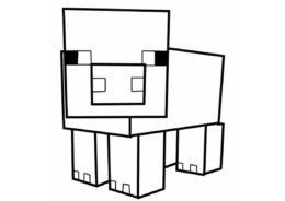 Поросенок бесплатная раскраска - Майнкрафт