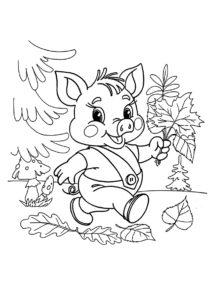 Раскраска Поросенок с букетом листьев распечатать и скачать - Осень