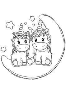 Посиделки на луне бесплатная раскраска - Единороги
