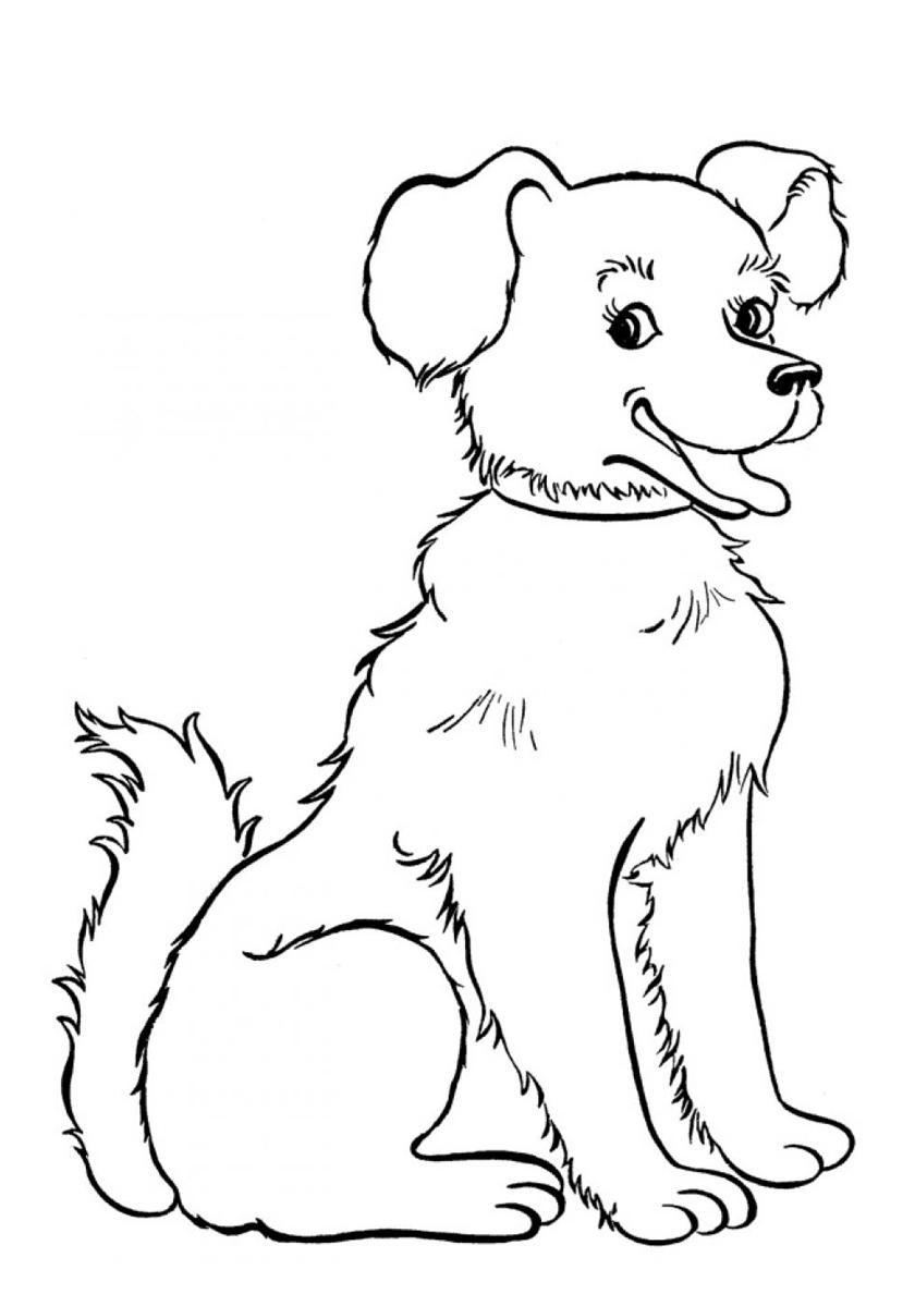 крепится картинки собаки раскраски печатать это