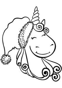 Распечатать раскраску Праздничная шапка - Единороги
