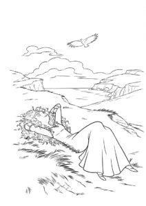 Бесплатная разукрашка для печати и скачивания Прекрасная мечтательница - Мерида