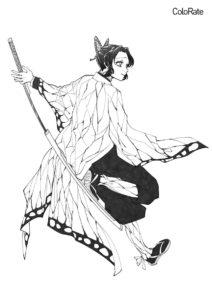 Прекрасная Шинобу разукрашка скачать и распечатать - Раскраски из аниме «Клинок, рассекающий демонов»