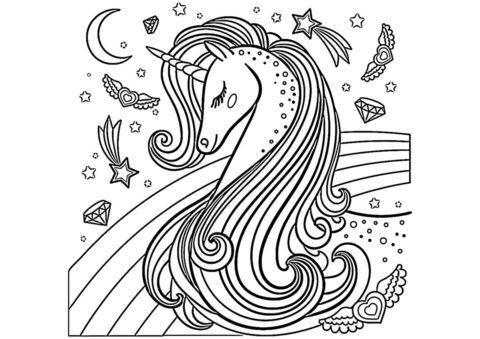 Единороги распечатать раскраску - Прекрасное создание