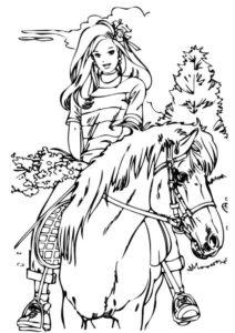 Прелестная девушка на лошади (Лошади и пони) бесплатная раскраска